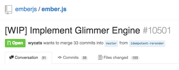 ember.js issue on GitHub for 'Implement Glimmer Engine'